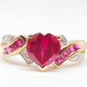 10k Yellow Gold Genuine Ruby & Diamond Heart Ring